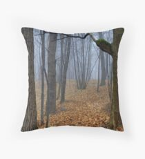 Foggy Wood Throw Pillow