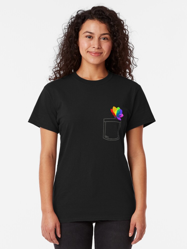 Vista alternativa de Camiseta clásica Flor de bolsillo
