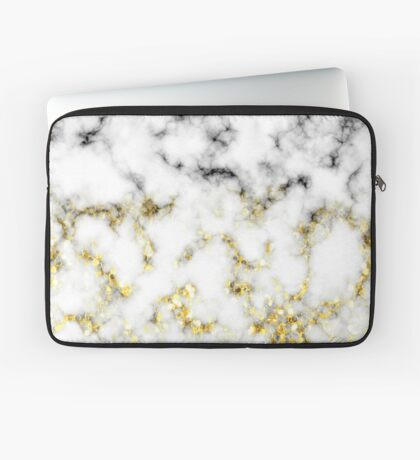Black and white marble gold sparkle flakes Laptop Sleeve