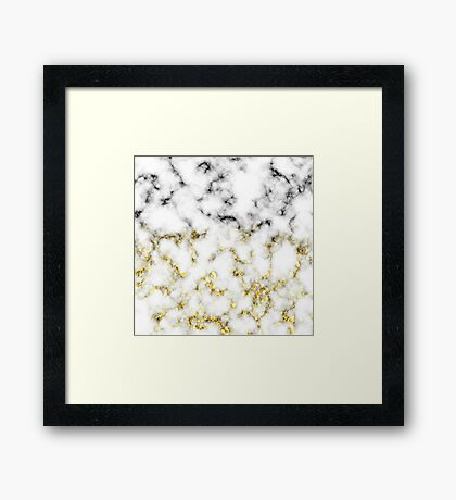 Black and white marble gold sparkle flakes Framed Print
