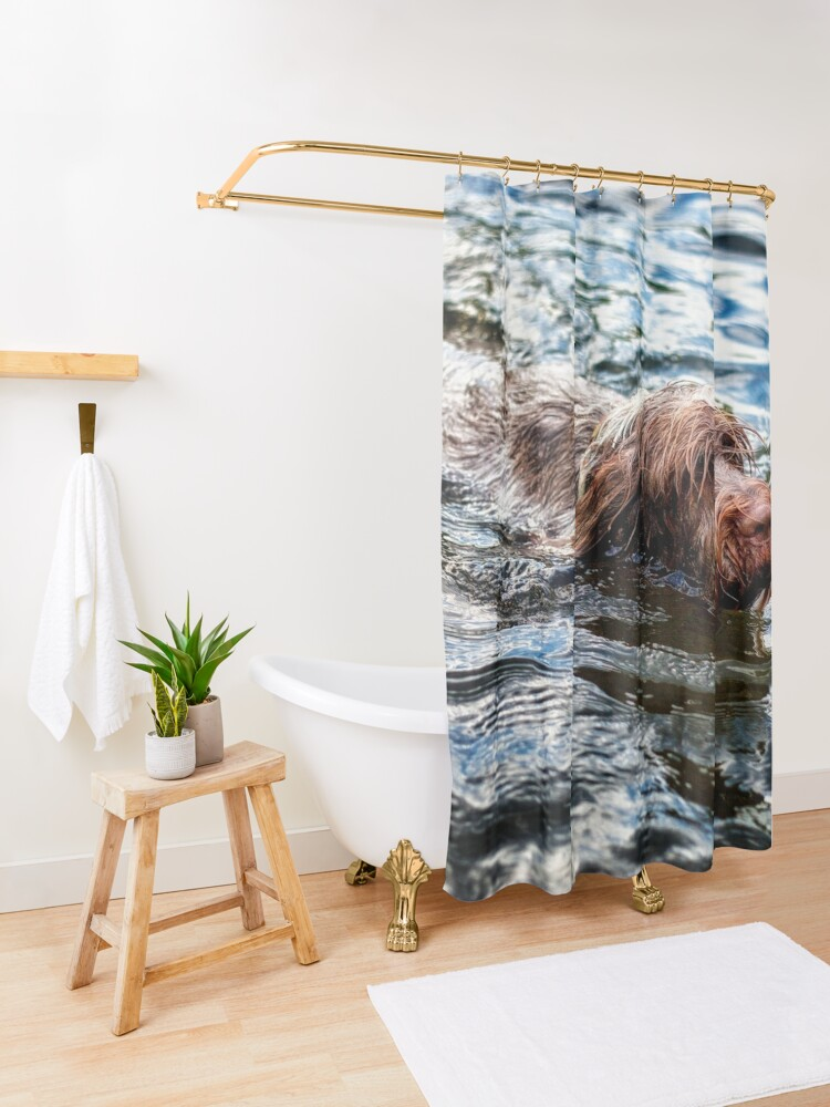Alternate view of Brown Roan Italian Spinone Dog Swimming Shower Curtain