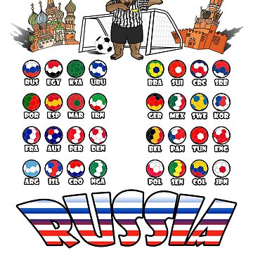 All 32 Qualified National Soccer Teams to Russia T-Shirt by MaliDo
