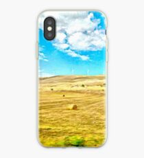 Abruzzo landscape from train window country with hay bales and wind turbines iPhone Case