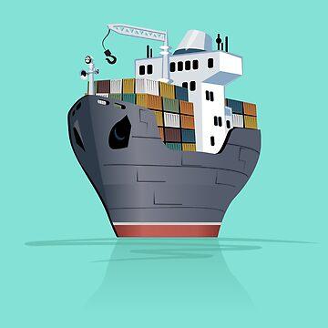 Cartoon cargo ship by Mechanick