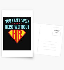 You Can't Spell Hero Without HR Human Resources Postcards