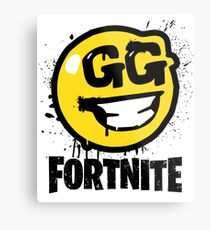 Fortnite Battle Royale GG Good Game Graffiti Spray Smiley Face Shirt Metal Print
