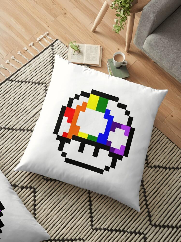 Mushroom Rainbow Pixel Art Floor Pillow By Crampsy Design
