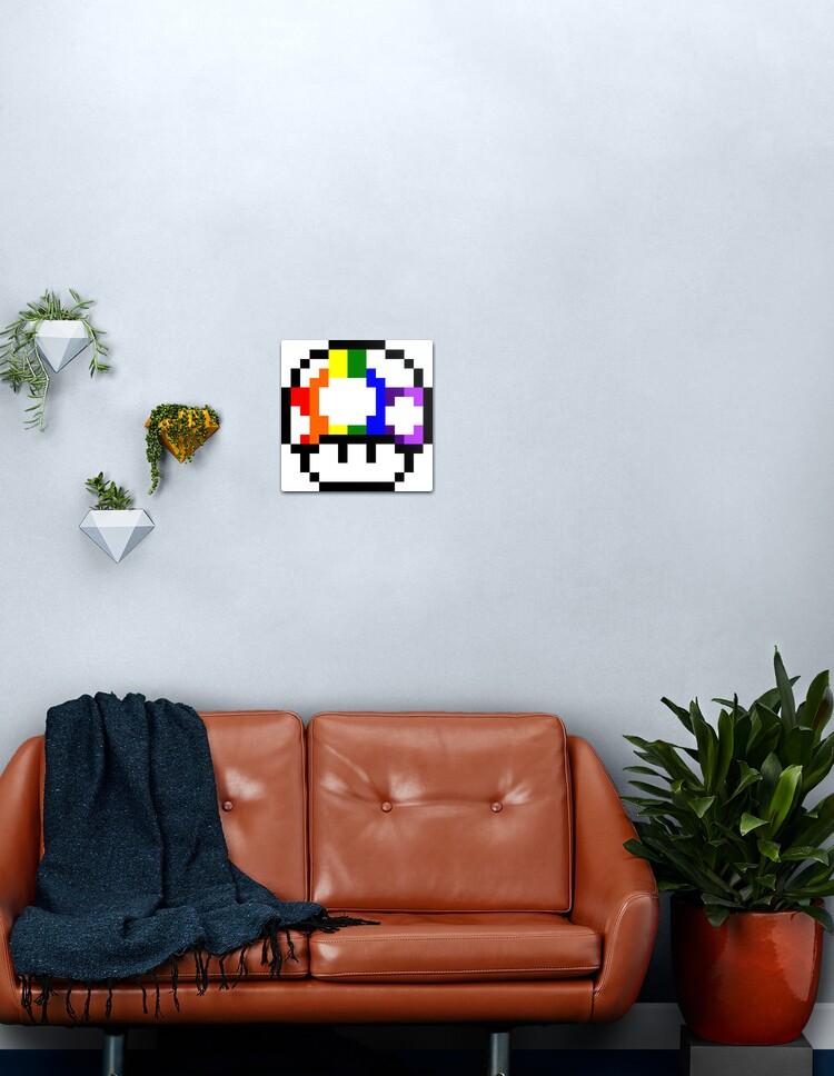 Mushroom Rainbow Pixel Art Metal Print