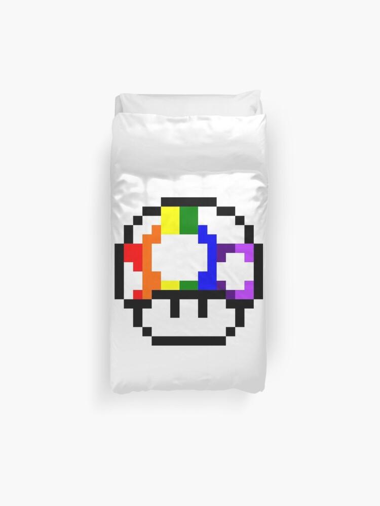 Mushroom Rainbow Pixel Art Duvet Cover