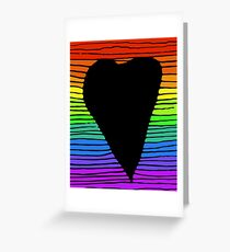 Rainbow black heart Greeting Card
