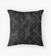 Mermaid scales. Black and white watercolor. Throw Pillow