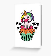Ugly pigs unicorn on muffin Greeting Card