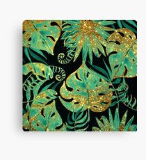 Tropical Floral Leaves Pattern - Teal Black and Gold Canvas Print