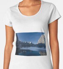 Winter Freeze Looking Down River From Swing Bridge Women's Premium T-Shirt