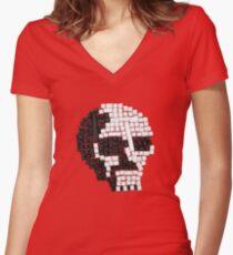 Key Skull Women's Fitted V-Neck T-Shirt