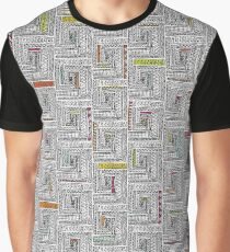 Log Cabin Pattern Graphic T-Shirt