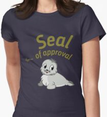 Seal Of Approval funny cute animal stamp badge gray black seal shirt gift for friend gift for mother gift for sister gift for girlfriend Women's Fitted T-Shirt
