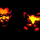 Jack-O-Lantern: Devil Scaring a Black Kitty Cat by SteveOhlsen