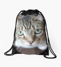 Sweet Cat looking up Drawstring Bag