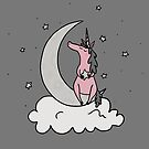 Dare to Dream - Pink Unicorn - Grey Background by Megan Downing