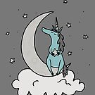 Dare to Dream - Blue Unicorn - Grey Background by Megan Downing