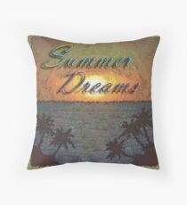 Summer Dreams Retro Surf Design   Throw Pillow