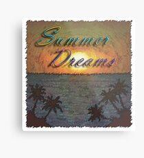 Summer Dreams Retro Surf Design   Metal Print