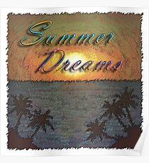 Summer Dreams Retro Surf Design   Poster