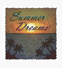 Summer Dreams Retro Surf Design   Photographic Print
