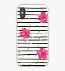 Floral Stripe and Gold Dot Design Kate Spade Inspired Fun Chic iPhone Case
