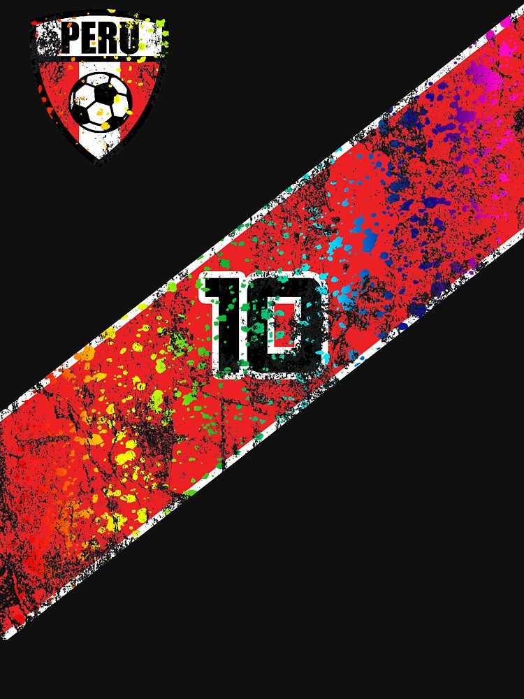 Peru Soccer Jersey Shirt Paint Splatter Distressed Home  by 7United