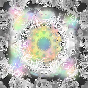 Lace Mandala grey rainbow colors starlike symmetric pattern by M-Lorentsson