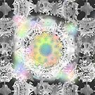Lace Mandala grey rainbow colors starlike symmetric pattern by M-Lorentsson
