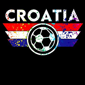 Croatia Soccer Jersey Shirt Paint Splatter Distressed Shield by 7United