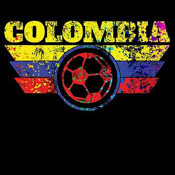 Colombia Soccer Jersey Shirt Paint Splatter Distressed by 7United