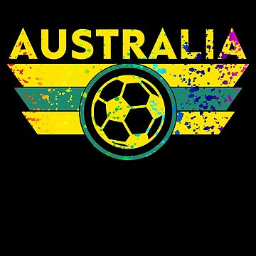 Australia Soccer Jersey Shirt Paint Splatter Distressed Shield  by 7United