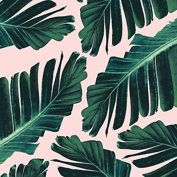 Tropical Blush Banana Leaves Dream #1 #decor #art by anitabellajantz