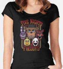 Five Nights At Freddy's Pizzeria Multi-Character Women's Fitted Scoop T-Shirt