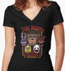 Five Nights At Freddy's Pizzeria Multi-Character Women's Fitted V-Neck T-Shirt