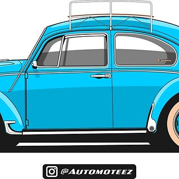 Classic Blue Travel Bug Unisex T-shirt for Men Women German Car Clothing Gift by Automoteez