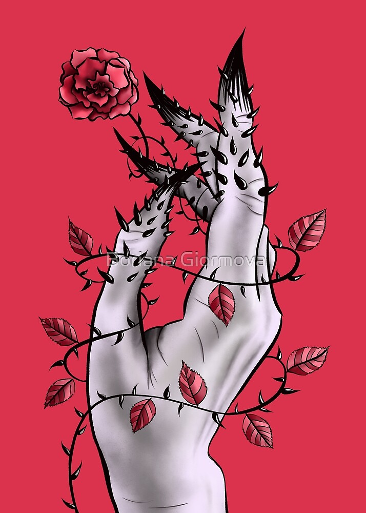 Creepy Deformed Hand With Rose And Thorns | Digital Art by Boriana Giormova