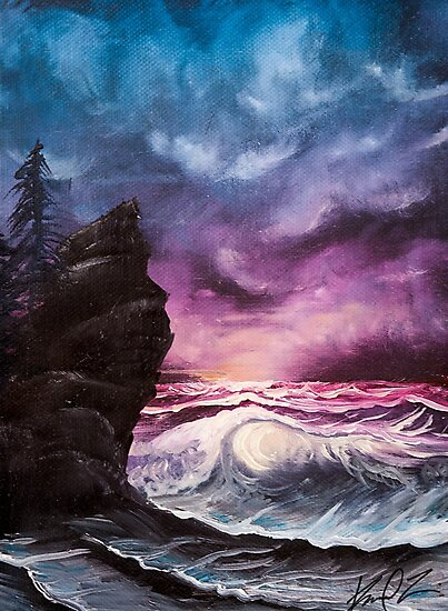 Ocean Sunset Bob Ross Style Seascape Painting Photographic Prints