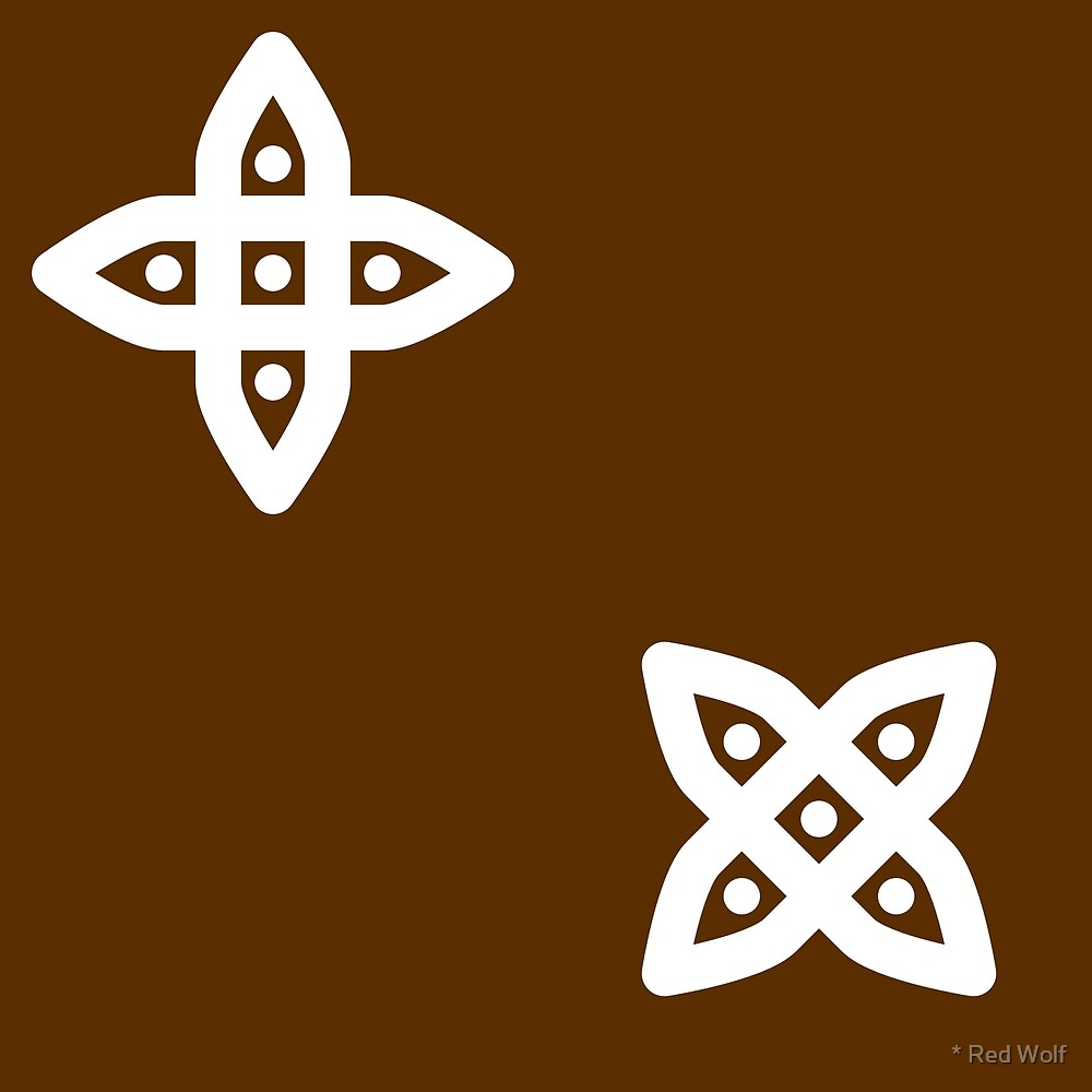 Geometric Pattern: Four Petal Stylised Flower: Brown by * Red Wolf