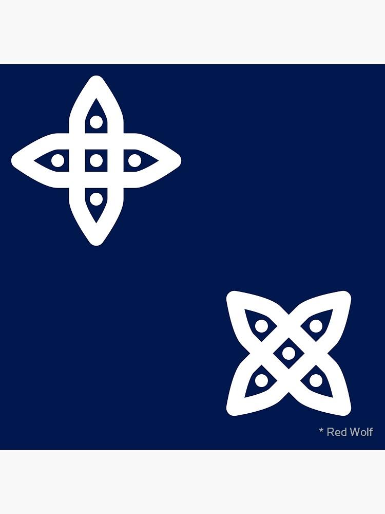 Geometric Pattern: Four Petal Stylised Flower: Blue by redwolfoz