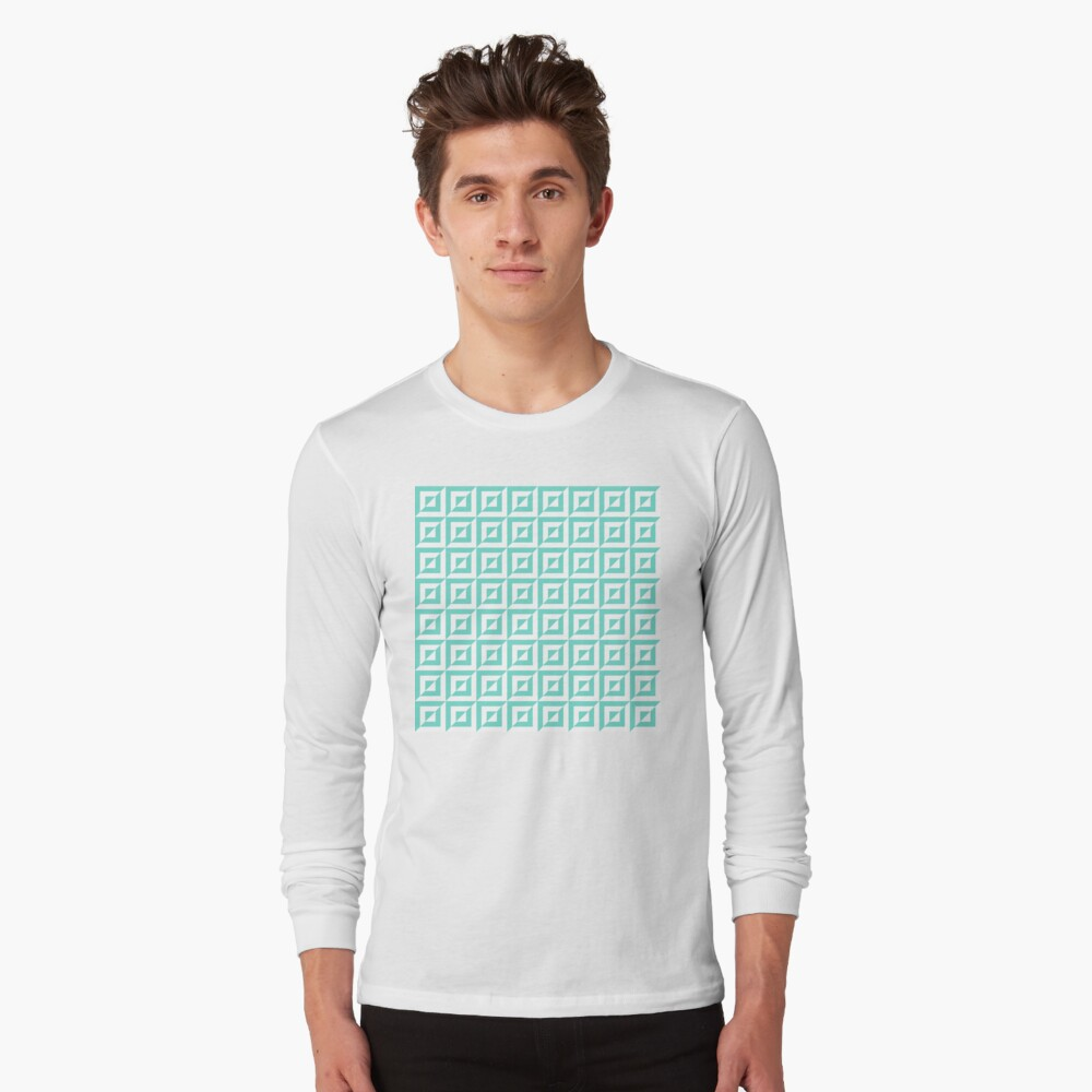 Geometric Pattern: Square Split: Blue Long Sleeve T-Shirt
