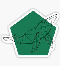 Geometric Green/Blue Whale Sticker