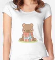 Cute teddy bear holding gift box Women's Fitted Scoop T-Shirt