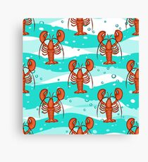 Lobsters with ornaments on the background of turquoise waves. Canvas Print