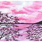 Pink Sunset | Original Watercolor landscape by DarinaDrawing