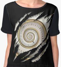 Steampunk Vintage Spiral Clock In Me Chiffon Top